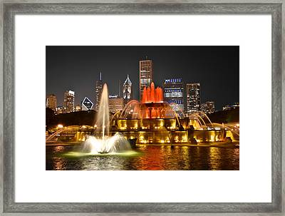 Buckingham Fountain At Night Framed Print by Frozen in Time Fine Art Photography