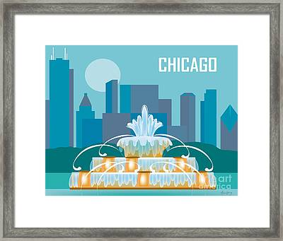 Buckingham Fountain Chicago Framed Print by Karen Young