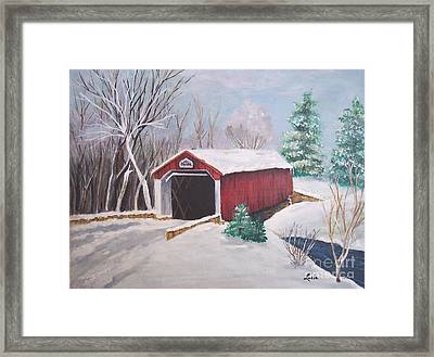 Bucks County Covered Bridge Framed Print by Lucia Grilletto