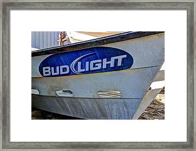 Bud Light Dory Boat Framed Print by Heidi Smith