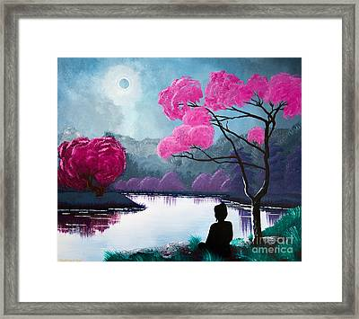 Buddha By The Lake Framed Print by Mindah-Lee Kumar