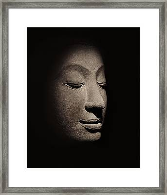 Buddha Head From The Early Ayutthaya Period Framed Print by Siamese School