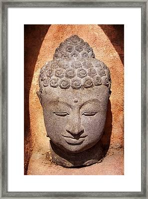 Buddha In Light And Shadow Framed Print by Carol Leigh
