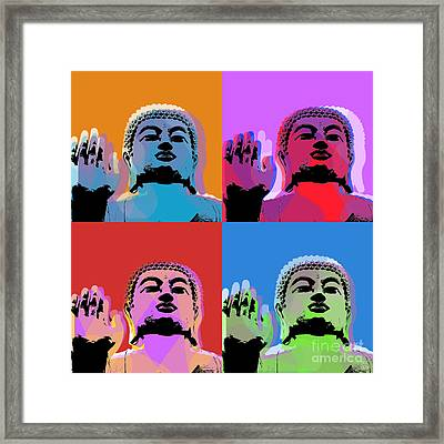 Buddha Pop Art - 4 Panels Framed Print by Jean luc Comperat
