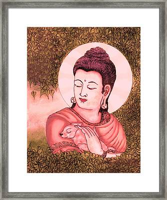 Buddha Red  Framed Print by Loganathan E