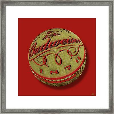 Budweiser Cap Orb Framed Print by Tony Rubino