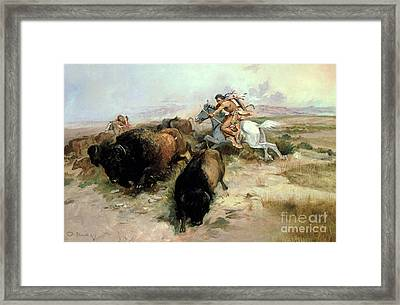 Buffalo Hunt Framed Print by Charles Marion Russell