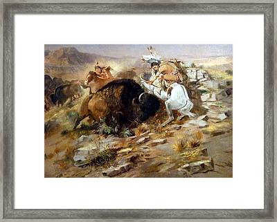 Buffalo Hunt Framed Print by Charles Russell