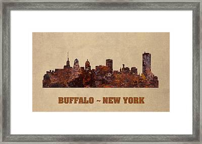 Buffalo New York City Skyline Rusty Metal Shape On Canvas Framed Print by Design Turnpike