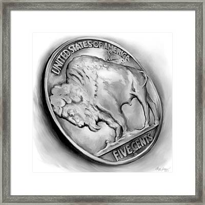 Buffalo Nickel 2 Framed Print by Greg Joens