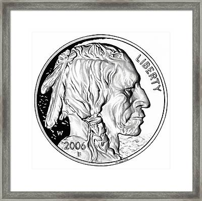 Buffalo Nickel Framed Print by Fred Larucci