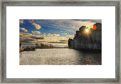 Buffalo River Tugs Under A Setting Sun Framed Print by Chris Bordeleau