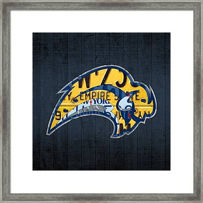 Buffalo Sabres Hockey Team Retro Logo Vintage Recycled New York License Plate Art Framed Print by Design Turnpike