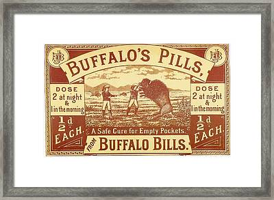 Buffalo's Pills Vintage Ad Framed Print by Gianfranco Weiss