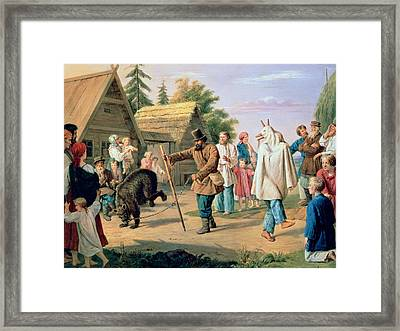 Buffoons In A Village Framed Print by Francois Nicholas Riss