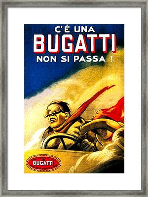 Bugatti Non Si Passa Advertising Poster Framed Print by Gary Perron