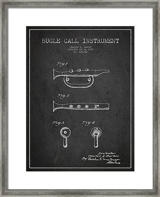 Bugle Call Instrument Patent Drawing From 1939 - Dark Framed Print by Aged Pixel
