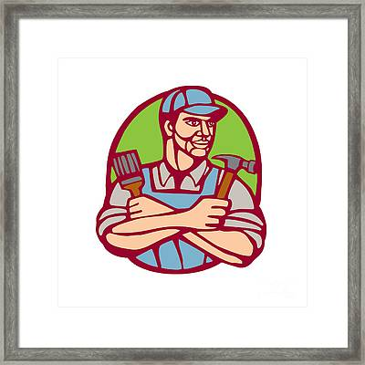 Builder Carpenter Paintbrush Hammer Linocut Framed Print by Aloysius Patrimonio