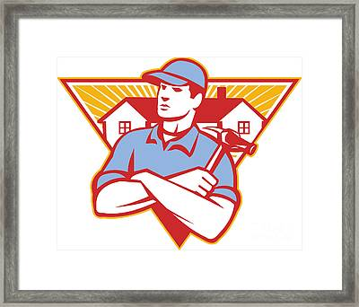 Builder Construction Worker Hammer House Framed Print by Aloysius Patrimonio