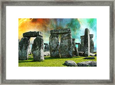 Building A Mystery - Stonehenge Art By Sharon Cummings Framed Print by Sharon Cummings