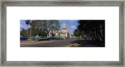 Building Along A Road, Capitolio Framed Print by Panoramic Images