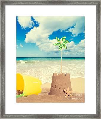 Building Sandcastles Framed Print by Amanda Elwell