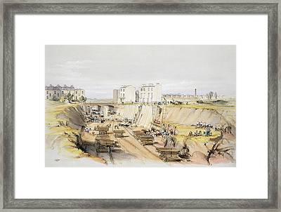 Building The Retaining Wall Near Park Framed Print by John Cooke Bourne