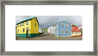 Buildings Along A Street, Akureyri Framed Print by Panoramic Images