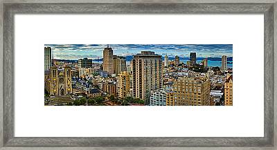 Buildings In A City Looking Framed Print by Panoramic Images