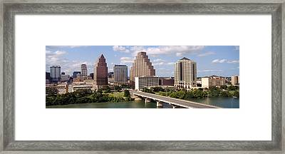 Buildings In A City, Town Lake, Austin Framed Print by Panoramic Images