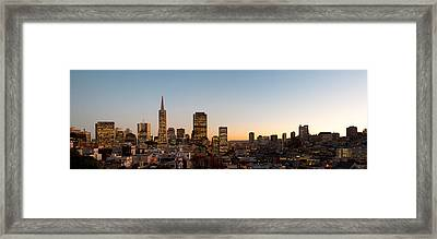 Buildings Lit Up At Dusk, Telegraph Framed Print by Panoramic Images
