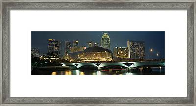 Buildings Lit Up At Night, Esplanade Framed Print by Panoramic Images