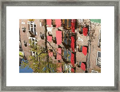 Buildings Reflected In Canal Framed Print by Ashley Cooper