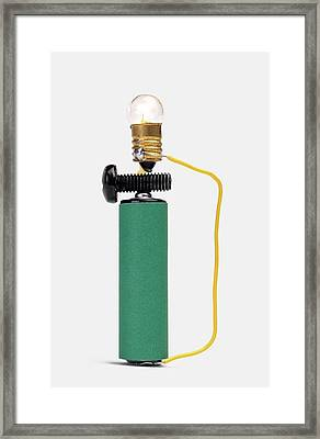 Bulb Resting On Steel Screw Framed Print by Dorling Kindersley/uig
