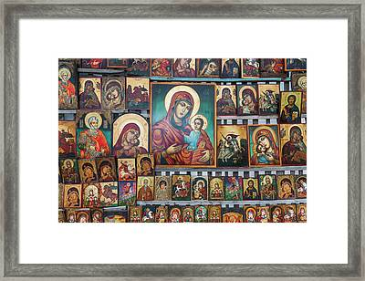 Bulgaria, Sofia, Souvenir Icons For Sale Framed Print by Walter Bibikow