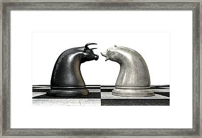 Bull And Bear Market Trend Chess Pieces Framed Print by Allan Swart