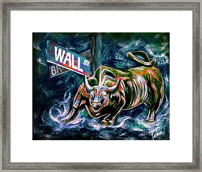 Bull Market Night Framed Print by Teshia Art