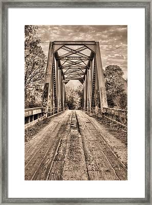 Bull Slough Bridge In Sepia Framed Print by JC Findley