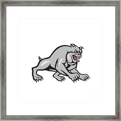 Bulldog Dog Mongrel Prowling Cartoon Framed Print by Aloysius Patrimonio