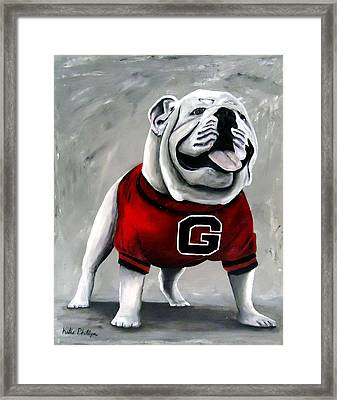 University Of Georgia Bulldog Painting - Damn Good Dawg Framed Print by Katie Phillips