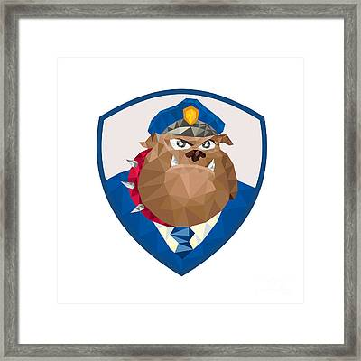 Bulldog Policeman Shield Low Polygon Framed Print by Aloysius Patrimonio