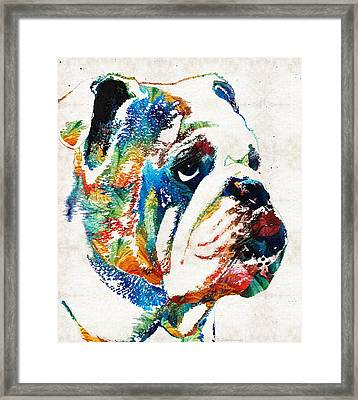 Bulldog Pop Art - How Bout A Kiss - By Sharon Cummings Framed Print by Sharon Cummings