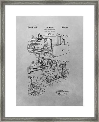 Bulldozer Patent Drawing Framed Print by Dan Sproul