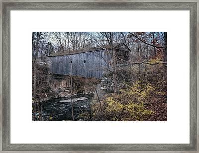 Bulls Bridge Covered Bridge Framed Print by Joan Carroll