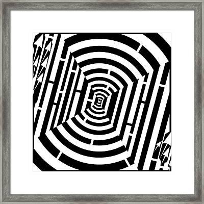 Bulls Eye Maze  Framed Print by Yonatan Frimer Maze Artist