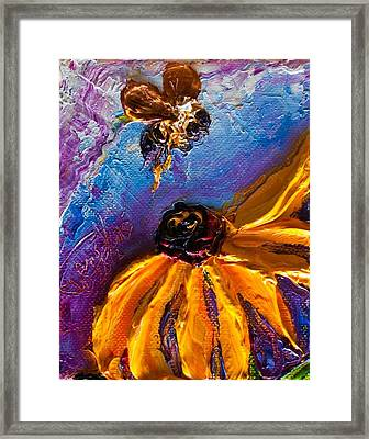 Bumble Bee And Yellow Flower II Framed Print by Paris Wyatt Llanso