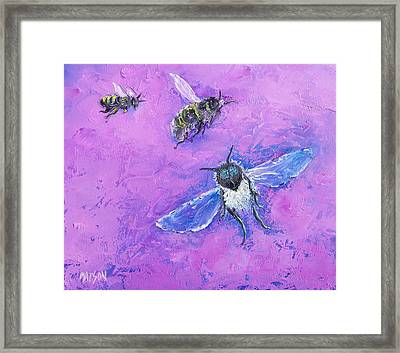 Bumble Bees Framed Print by Jan Matson