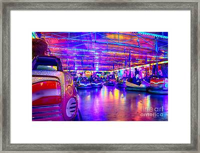 Bumper Cars At The Octoberfest In Munich Framed Print by Sabine Jacobs