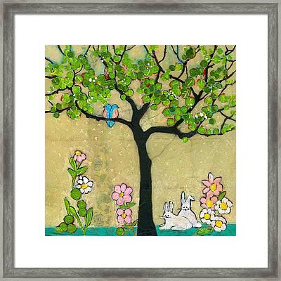 Bunnies And Birds Tree Framed Print by Blenda Studio