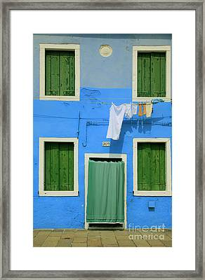 Burano Blue And Green Framed Print by Inge Johnsson